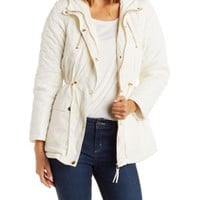 Ivory Faux Fur Trim Puffer Coat by Charlotte Russe
