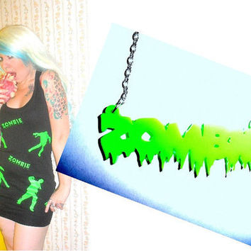 Zombie Dress and Necklace Combo Special Offer  Horror Punk goth monster rock Halloween Undead