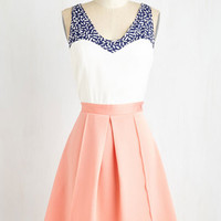 ModCloth Colorblocking Mid-length Sleeveless Fit & Flare Shorefront Sherbet Dress