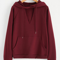 Casual V Neck Long Sleeve Solid Color Pullover - NOVASHE.com
