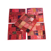 Mogul Set Of 5 Decorative Beautiful Handmade Cushion Covers Vintage Red Patchwork Pillow Case 16X16 - Walmart.com