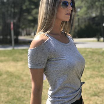 The Cold Shoulder Tee by Z Supply- Heather Grey