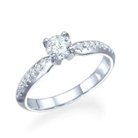 Alex - Round Diamond Side Stone Engagement Ring in 14k White Gold (.71 ct t.w)