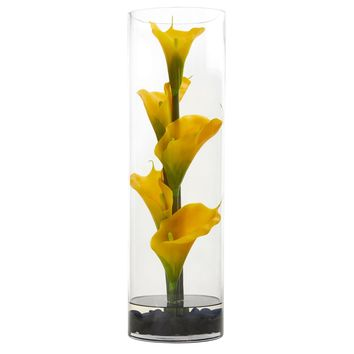 Artificial Flowers -20 Inch Yellow Calla Lily In Cylinder Glass Arrangement