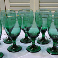 Vintage Libbey Juniper Teardrop Wine Water Glass Goblet Set of 9 Teal PanchosPorch