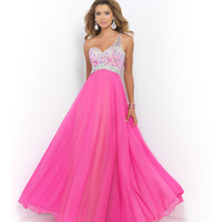 Pink Azalea One Shoulder Jeweled Ombre Open Back Gown