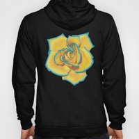 Yellow and Turquoise Rose Hoody by drawingsbylam