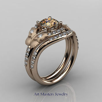 Nature Inspired 14K Rose Gold Diamond Leaf and Vine Champagne Diamond Wedding Ring, Engagement Ring Set NN117SS-14KRGDCHD