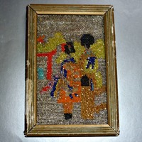 1920's- Glass Beaded Picture -Japanese Woman And Child In Kimonos -Framed