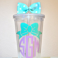 Monogrammed Bow Acrylic Tumbler. 16 ounce cups.