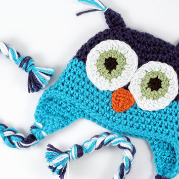 Crochet Baby Owl Hat // Navy Blue & Bright Blue // Newborn Photo Prop