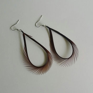 Feather Earrings, Dark Brown Feather Earrings, hoop earrings