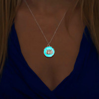 Aqua Glowing Lotus Necklace - Glowing Jewelry - Glow in the Dark - Lotus flower - Silver Lotus - Gifts for Her - Jewelry