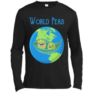 World Peas - Funny World Peace Pun T Shirt Earth Day Tee Long Sleeve Moisture Absorbing Shirt