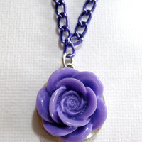 Lilac Purple Rose Necklace Pastel Goth Kawaii