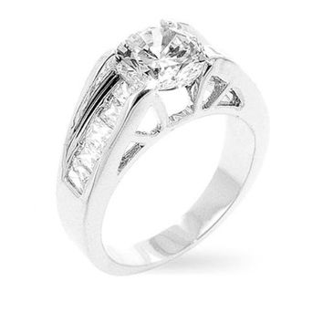 1.9ct CZ White Gold Rhodium Timeless Clear Engagement Ring