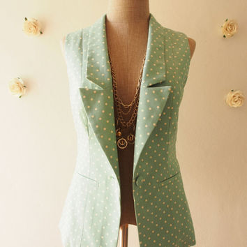 Blazer Polka Dot Light Rustic Blue Chic Collar with Pockets  : Play Blazer or semi formal style fun to own and dress with - Size S-M
