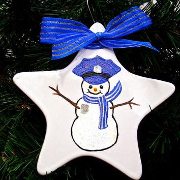 Hand Painted Police Officer Christmas  Ornament
