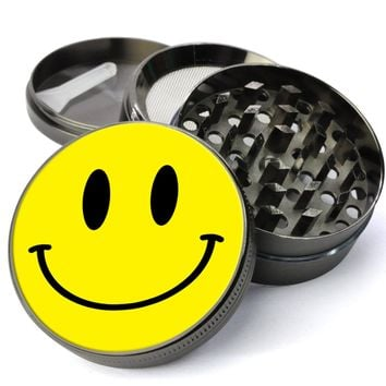 Smiley Face Deluxe Metal 5 Piece Herb Grinder With Fine Screen - The Best Kitchen Spice and Herb Grinder For Sale