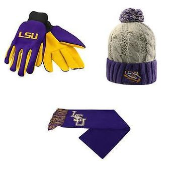 new styles 8f7d8 8ed65 Licensed NCAA LSU Tigers Team Logo Scarf Gust Beanie Hat And Gri