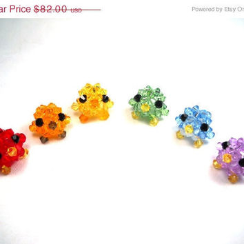 ON SALE Miniature Birds In Rainbow Colors Set of 6 Trinkets