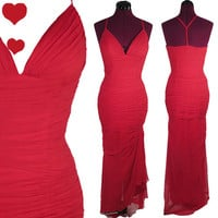 Dress Vintage 80s 50s Red Chiffon Bombshell Prom Party Dress S Draped Pageant