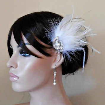 Art Deco Gatsby 1920s Ivory White Bridal Head Piece Champagne Peacock Feather Fascinator Vintage Wedding Hair Piece Rhinestone,