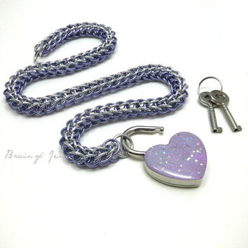 Chainmail Slave Collar Lavender & Silver with Sparkly Lavender Heart Shaped Padlock