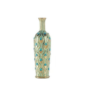 Tall Peacock Jewel Vase