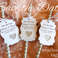Save the Date Shimmer Tags and Paper Straws - White and Grey, White and Silver - Chevron
