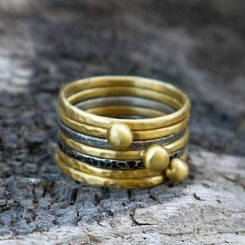 ON SALE Skinny stecking rings set of 7 - Gold plated brass and sterling silver - Mixed metal rings set