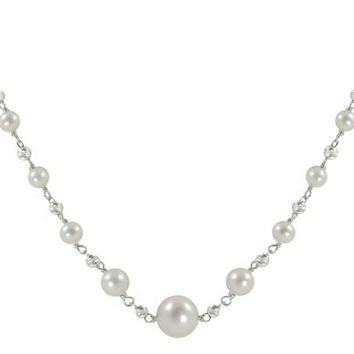 """Imperial Pearl: 18"""" Sterling Silver Brilliance Bead & Graduated Freshwater Pearl Necklace"""