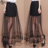 2016 New Summer sexy Jupe Tulle Maxi Skirt skirts Womens Transparent Lace Trim Asymmetrical High waist Skirt Sexy long Skirts