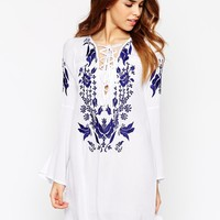 Glamorous Embroidered Lace Up Dress With Fluted Sleeves