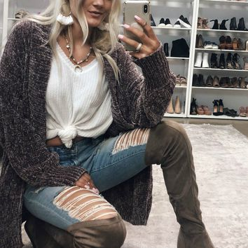 Shopping Spree Taupe Wedge Suede Over Knee Boots