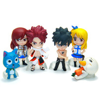 Anime Fairy Tail PVC Figure Model and Retail 6 pcs/set Natsu Happy Lucy Gray Elza Fairy Tail Toy Action Figures