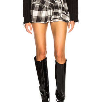 Faith Connexion Mini Check Shirt Skirt in Black & White | FWRD