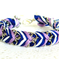 Lilac Blues - Royal Blue, Pearl, & Lilac - Chevron Braided Modern Friendship Bracelet - Silver Chain