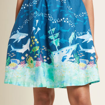 Style Study A-Line Skirt in Sharks in S