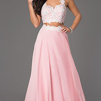 Floor Length Two Piece Lace Embellished Dress by Rachel Allan