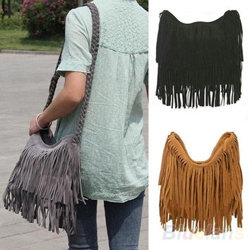 Women Lady Fringe Tassel Suede Shoulder Messenger Cross Body Satchel Bag Handbag, tote, women's fashion = 5978984193