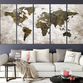 N14448 - Modern Large Wall Art World Map Map Push Pin Canvas Print for Wall Decor - Ready to Hang