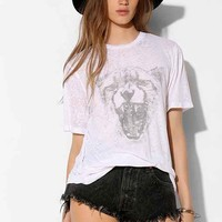 Truly Madly Deeply White Leopard Head Burnout Tee- White S