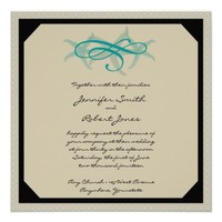 Taupe and Teal Seaside Wedding Invitation from Zazzle.com