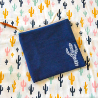 Colorful Cactus Pouch, Cactus Clutch in denim