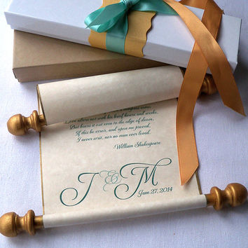 Wedding vows scroll, personalized paper scroll, wedding memento, custom printed scroll with monogram, message scroll, anniversary scroll