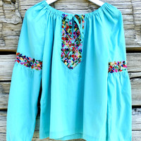 Mexican blouses, Mexican embroidered blouse, Hippie blouse, Blue mexican blouse, Cute embroidered mexican blouse Mexican embroidered blouses