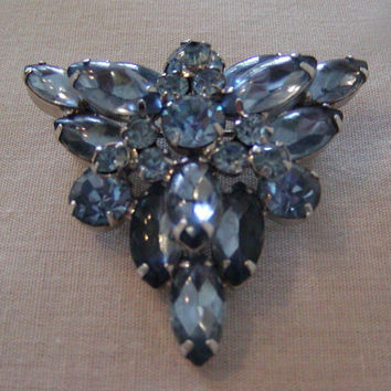 Layered 60's Triangular Shaped Brooch of Icy Blue Round and Marquise Cut Glass Beads and Rhinestones