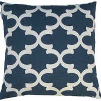 JinStyles Cotton Canvas Quatrefoil Accent Decorative Throw Pillow Cover (UCLA Blue, White, Square, 1 Cover for 18 x 18 Inserts)