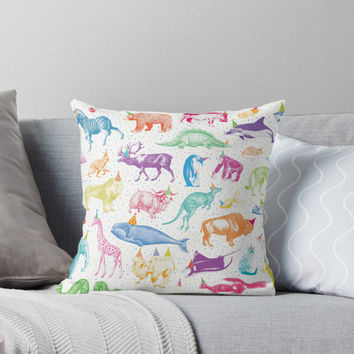 'Party Animals' Throw Pillow by lizzydeestudio